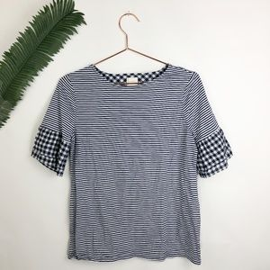 Chicos blue gingham striped top blouse